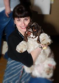 This is my dog Dexter, with me at our very first BlogPaws Conference in Ohio. We have been to every
