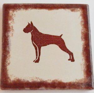 Boxer coasters. Handmade, hand glazed, kiln fired. Set of 4Boxercoastersdecal