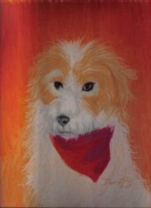This dog belonged to my aunt and uncle. After Charlie passed away, they commissioned me to draw a pe