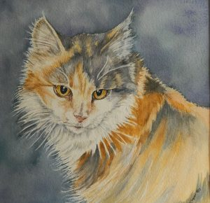 8 x 10 WatercolorMiss Kitty