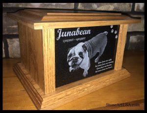 oak & granite pet urn. custom laser etching. StoneArtUSA.com since 1999 LLU Junabean