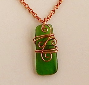 wire wrapped sea glass necklaceN032Gb