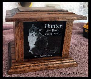 R.I.P. Hunter … oak and granite pet urn. laser etched, custom designed. StoneArtUSA.com ~ sinc
