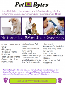 Come join a network of other pet lovers!Pet Bytes Mission and Purpose